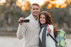 Young couple travels Stock Images