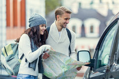 Young couple travels Royalty Free Stock Photography