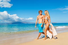 Young Couple on Tropical Beach Stock Images