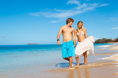 Young Couple on Tropical Beach Royalty Free Stock Photo