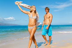 Young Couple on Tropical Beach Royalty Free Stock Image