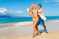 Young Couple on Tropical Beach Stock Photo