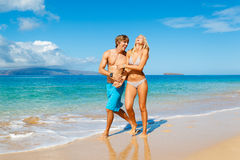 Young Couple on Tropical Beach Stock Photography