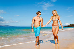 Young Couple on Tropical Beach Stock Photos