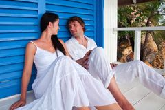 Young couple in tropical beach house Royalty Free Stock Photos