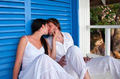 Young couple in tropical beach house Royalty Free Stock Images