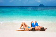 Young couple on the tropical beach Royalty Free Stock Photos