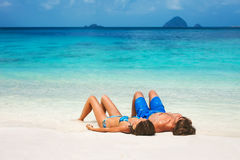 Young couple on the tropical beach Stock Photo