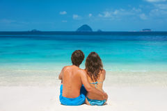 Young couple on the tropical beach Royalty Free Stock Images