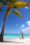Young couple on a tropical island. Young beautiful couple on a tropical island Royalty Free Stock Image