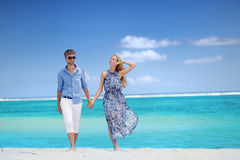 Young couple on a tropical island Stock Image