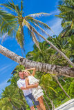 Young couple on tropical island, outdoor wedding ceremony Royalty Free Stock Photography