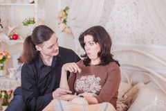 Young couple trying pregnant Stock Photos