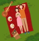 Young couple two people woman and man lie on the grass vector illustration of summer picnik top view of couple in love. Lying on picnic plaid barbecue outdoor Royalty Free Stock Photography