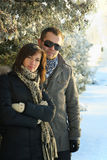 Young Couple Under Fir Trees Stock Photos