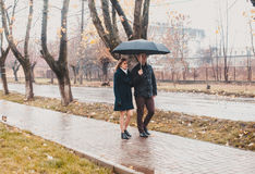 Young couple under an umbrella Stock Images