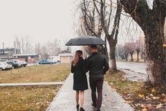 Young couple under an umbrella. Beautiful young couple walking under an umbrella in the autumn alley Stock Image