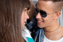 Young couple urban fashion flirting portrait Royalty Free Stock Image