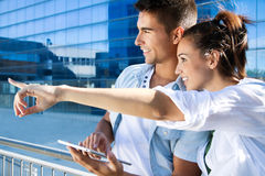 Young couple using a digital tablet Stock Photo