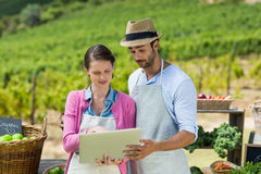 Young couple using laptop at farm Stock Images