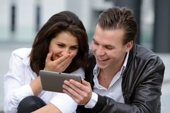 Young couple using tablet Stock Photo