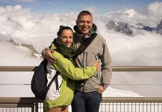 Beautiful couple on holiday on Mont Blanc royalty free stock photography