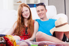 Young couple on vacation. Portrait of young, happy couple on vacation Royalty Free Stock Photos