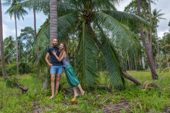 Young couple on vacation in Thailand. Young couple in tropical forests of Thailand Stock Photo
