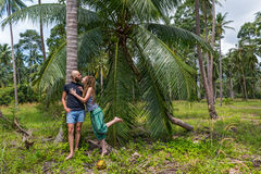Young couple on vacation in Thailand. Young couple in tropical forests of Thailand Royalty Free Stock Photo