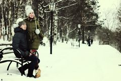 Young couple on vacation. In the winter Royalty Free Stock Images