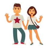 Young couple vector man and woman flat characters. Young couple holding by hands and smiling. Vector flat family characters of man and woman or happy girlfriend royalty free illustration