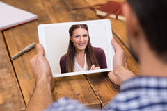 Young couple in video chat stock photography