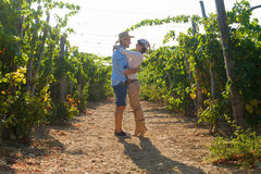 Young couple, vine growers, in the vineyard. Stock Image