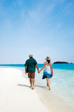 Young couple visit Aitutaki Lagoon Cook Islands Royalty Free Stock Images