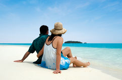 Young couple visit Aitutaki Lagoon Cook Islands Stock Image