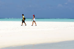Young couple visit Aitutaki Lagoon Cook Islands Stock Photo