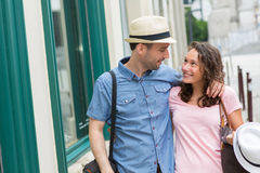 Young couple visiting city during holidays Stock Photo