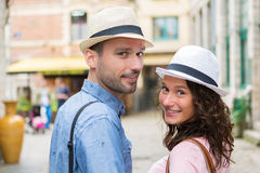 Young couple visiting city during holidays Royalty Free Stock Image