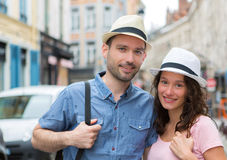 Young couple visiting city during holidays Royalty Free Stock Images