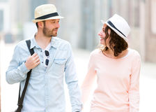 Young couple visiting city during holidays Royalty Free Stock Photography