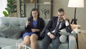 Young couple visiting family counselor. Marriage counseling