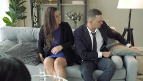 Young couple visiting professional marital therapist office