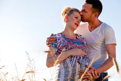 Young couple waiting for a baby. Royalty Free Stock Image