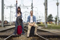 Young couple waiting for the train Royalty Free Stock Photos