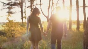 Young couple walk in forest at beautiful sunset. Sun rays shine. Lovers in nature. Slow mo, steadicam shot, backview