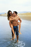 Young Couple Walk In the Ocean Royalty Free Stock Photography