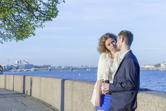 Young couple on a walk Royalty Free Stock Image