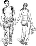 Young couple at walk Royalty Free Stock Image