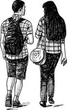 Young couple on walk royalty free illustration