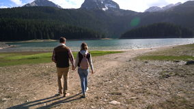 Young couple walking along the lake stock video